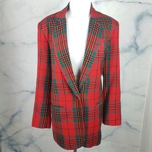 Jackets & Blazers - Vintage Oversized Tartan Plaid Boyfriend Blazer